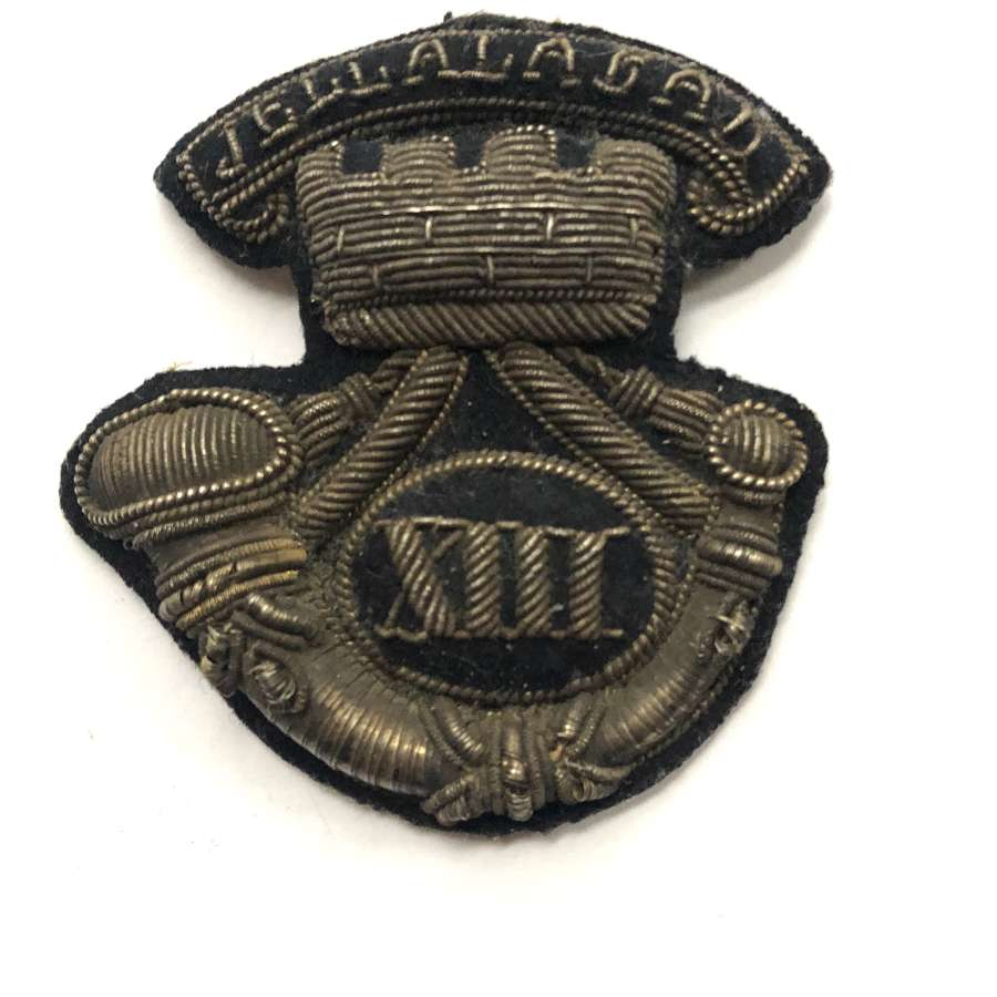 13th (Somerset) Light Infanty Victorian Officer's forage cap badge