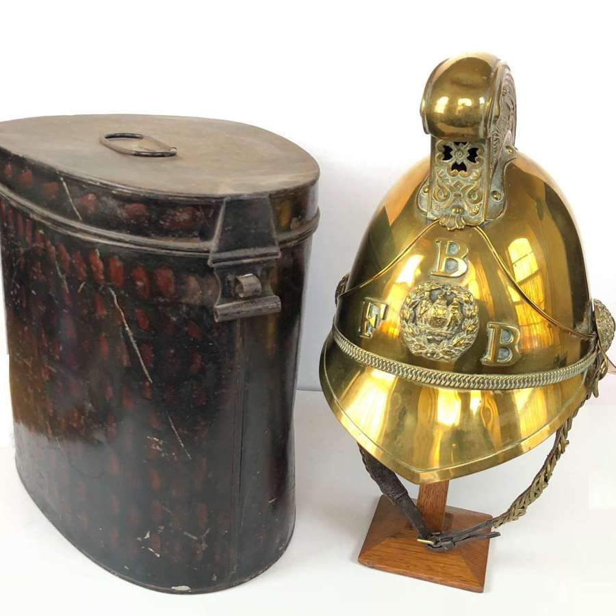 Birmingham Fire Brigade brass Fireman's helmet in its tin case