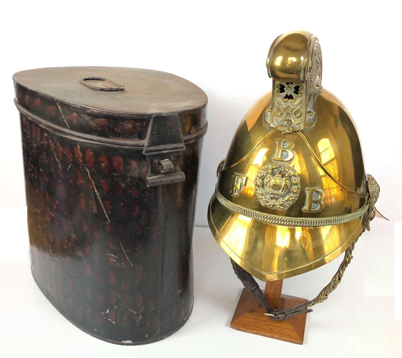 Birmingham Fire Brigade brass Fireman's helmet in its tin case