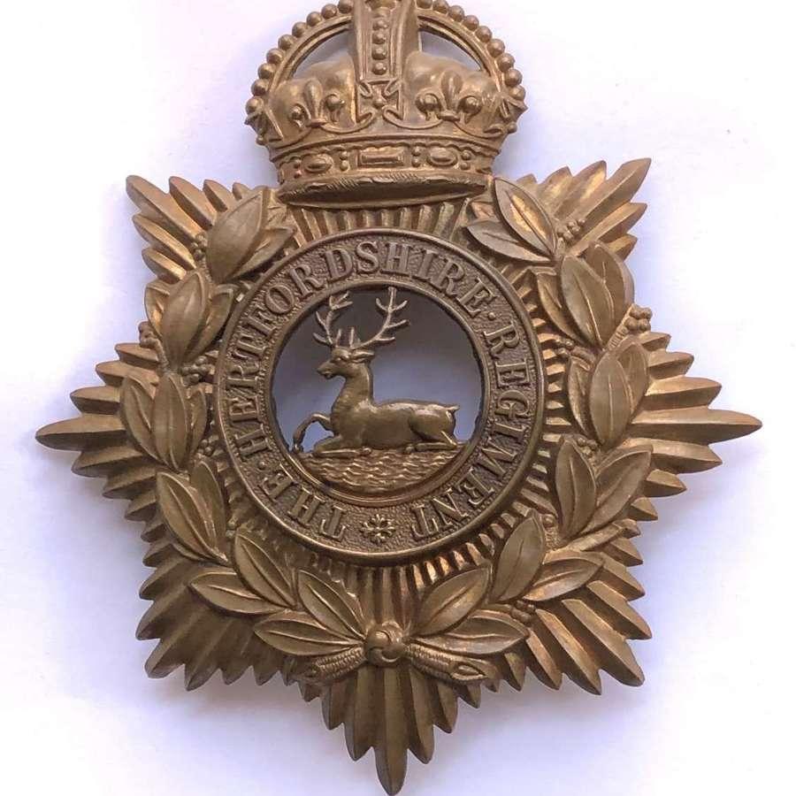 Hertfordshire Regiment helmet plate circa 1909-14