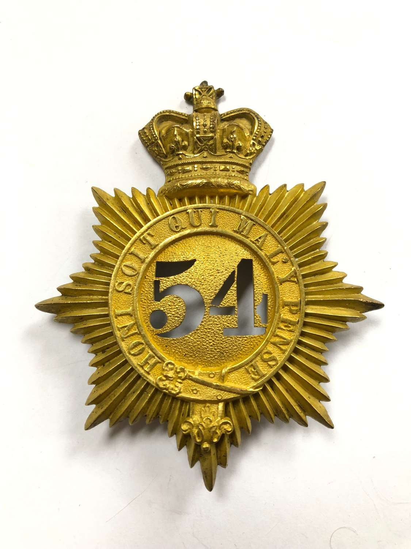 54th (West Norfolk) Regiment of Foot Victorian Officer's shako plate