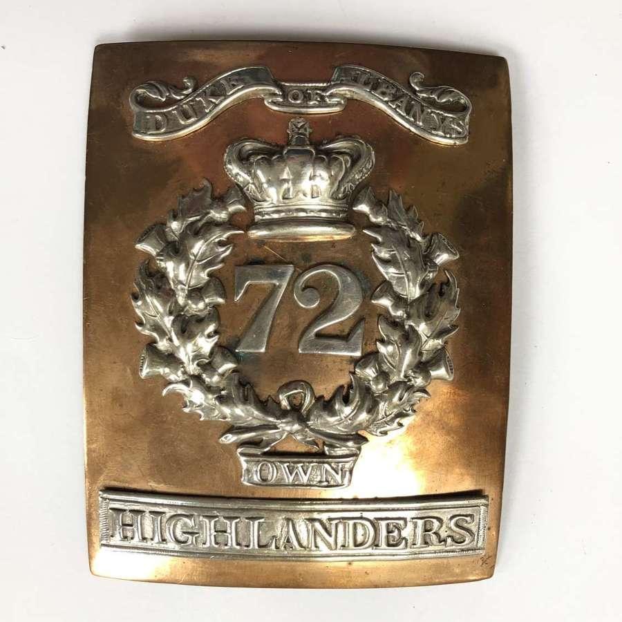 72nd Highlanders (Duke of Albany's) Officer's shoulder belt plate